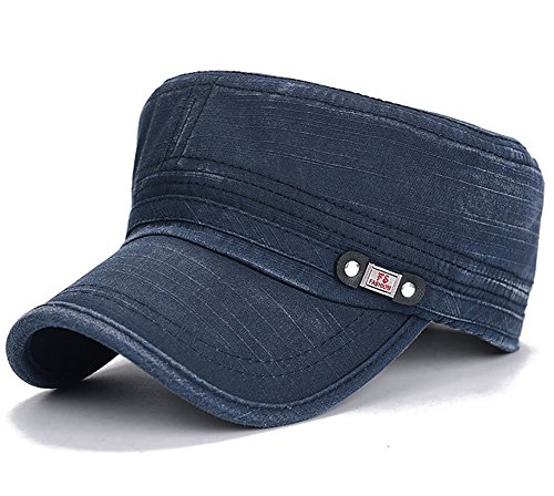 Glamorstar Unisex Cadet Army Cap Washed Cotton Military Corps Hat Flat Top Cap Navy