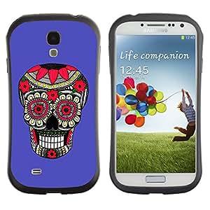 Be-Star Impreso Colorido Diseño Antichoque Caso Del Iface Primera Clase Tpu Carcasa Funda Case Cubierta Par SAMSUNG Galaxy S4 IV / i9500 / i9515 / i9505G / SGH-i337 ( purple pattern floral skull death )