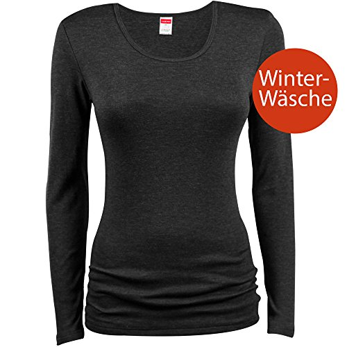UNWAGO Damen Thermo-Shirt - Langarm - Unterhemd in Feinripp-Qualität -Thermowäsche - Unterwäsche - Farbe Schwarz - Größe 40