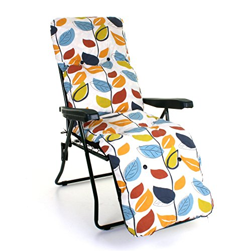 Sun Lounger Reclining Recliner Chairs Outdoor Garden Patio Relaxer with Cushion (Lounger & Cushion Set, Leaves)