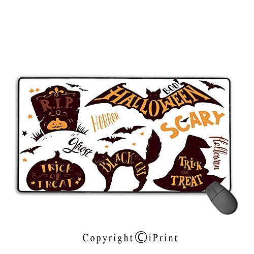 Extended Mousepad with Durable Stitched Edges,Vintage Halloween,Halloween Symbols