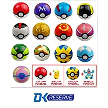 Pokemon Pokeball Toys with Action Figure Inside- Real Toy Pokeballs that Open- Includes Two Pokemon Figurines & Pokeballs   DK Reserve Toys by DK Reserve Toys