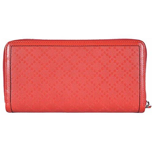 GUCCI Women's Diamante Leather Zip Wallet Tabasco Red 368177