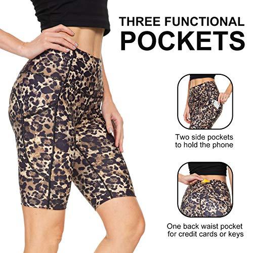 Running Shorts for Women High Waist Pants Yoga Leggings Biker Workout Shorts with 3 Pockets Regular Plus Size (Khaki Leopard Print XS)