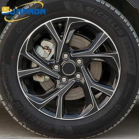 Carbon Fiber Wheels >> 17 18 Black Carbon Fiber Wheel Stickers For Toyota C Hr