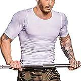 [chorbmark] 加圧シャツ メンズ 加圧インナー 半袖 加圧インナーシャツ コンプレッションウェア Tシャツ 加圧トレーニングインナー Uネック 3色展開(ブラック、ホワイト、ネイビー)