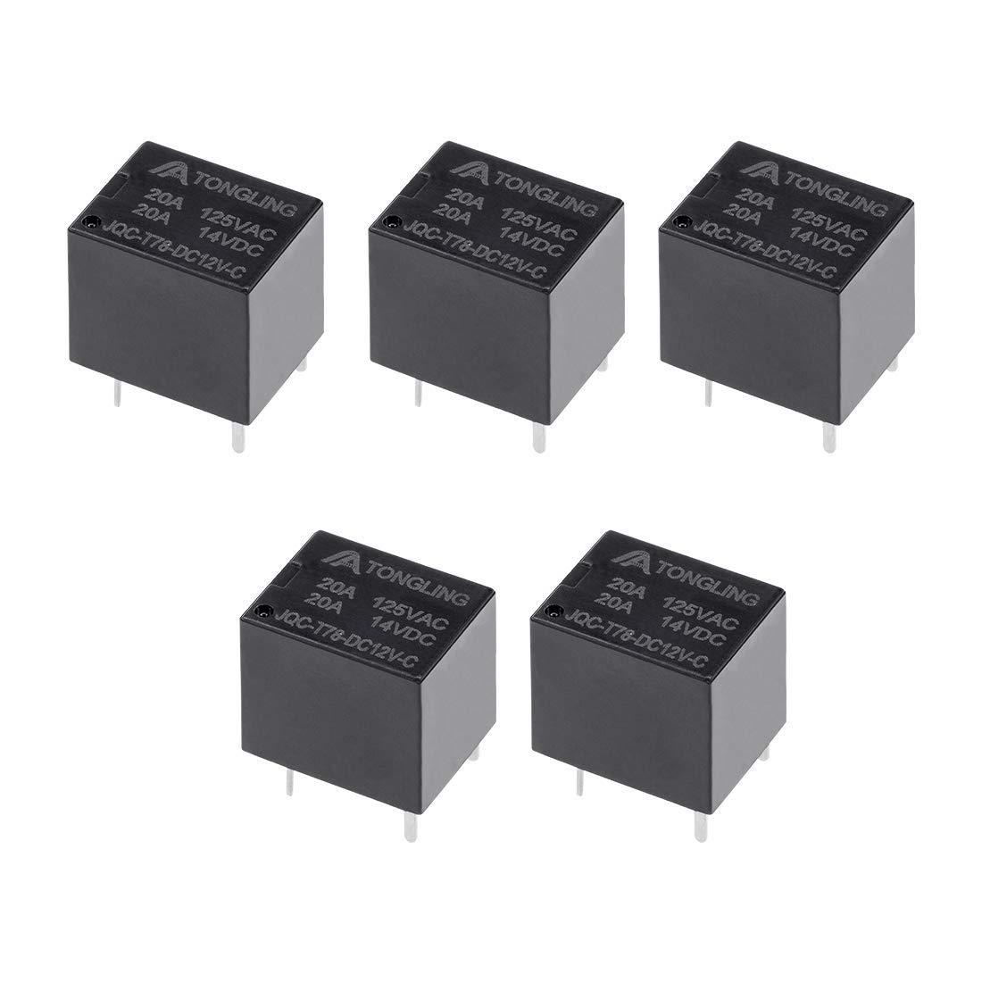 5 Pcs JQC-T78-DC12V-C DC12V Bobine SPDT Relais puissance /électromagn/étique circuit 5broche