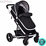 SKEMiDEX---2 In 1 Foldable Baby Stroller Kids Travel Newborn Infant Buggy Pushchair Black Color: Black Material: Aluminum alloy+ iron pipe + PP + Oxford(Cover) Weight Capacity: 33LB Unit Weight 2