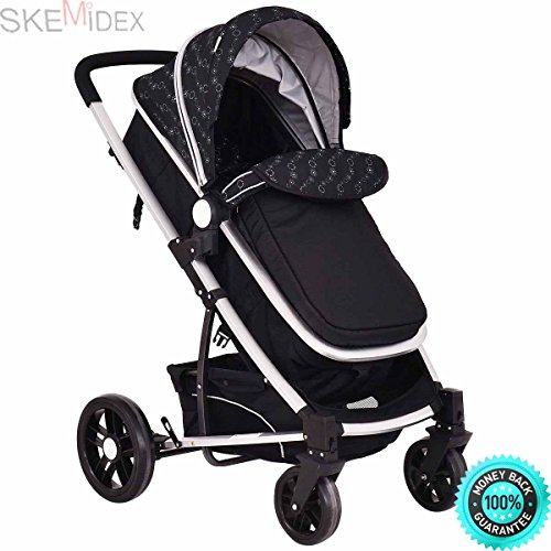 SKEMiDEX---2 In 1 Foldable Baby Stroller Kids Travel Newborn Infant Buggy Pushchair Black Color: Black Material: Aluminum alloy+ iron pipe + PP + Oxford(Cover) Weight Capacity: 33LB Unit Weight 2 by SKEMiDEX