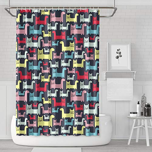 AKDJDS Colourful Cats Black Background Funny Shower Curtain with Hooks Bathroom Fabric Curtains - 72 X 72 Inch ()