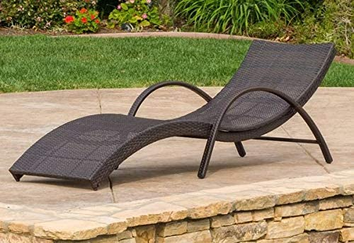 Amazon.com : Lounge Chairs for Pool Area-Tanning Chairs for Outside- Layout Chairs for Tanning - Black Brown Wicker with Arms. : Garden & Outdoor