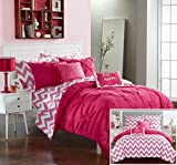 Chic Home 7 Piece Louisville Pinch Pleated and Ruffled Chevron Print Reversible Bed In a Bag Comforter Set Sheets, Twin X-Large, Fuchsia