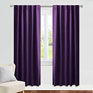 PONY DANCE Blackout Curtains 84 Long - 42 W x 84 L, Royal Purple Window Covering Super Soft Fabric Thermal Insulated Slot Top Curtains/Light Blocking for Kids' Living Room, 2 Panels