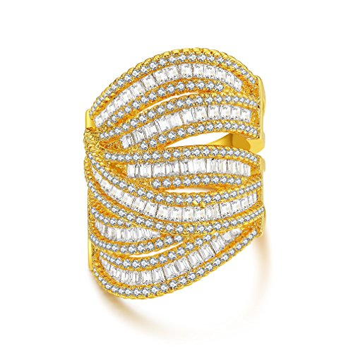 Heart Ring Baguette (Bella Lotus CZ Diamond 18k Yellow Gold Plated Baguette Wide Band Luxury Statement Ring, Size 7)