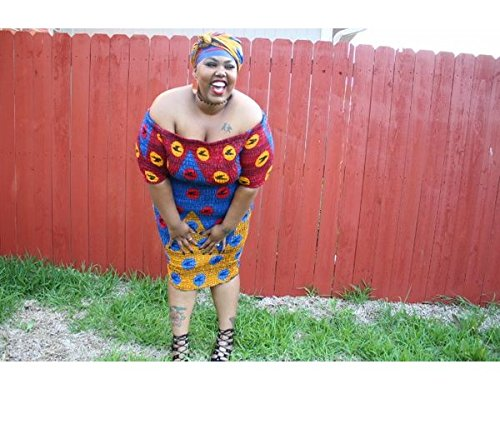 Nova AfriquX- Womens Mealina African Print PLUS SIZE knee-length Elastic Off Shoulder Dress W/Matching Headwrap
