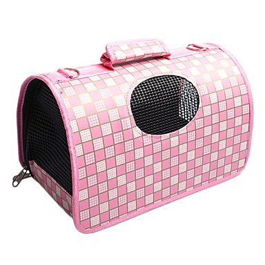 Quick shopping England Style Grid Pattern Folding Dog Carrier (Assorted color,S-L) , Pink , L