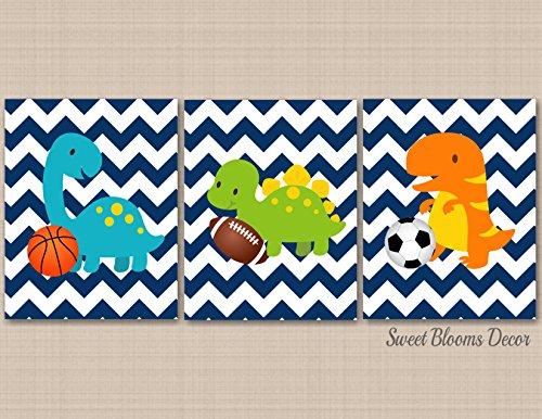 Dinosaur Nursery Wall Art,Sports Dinosaur Kids Wall Art Navy Chevron Nursery Décor Sports Nursery Décor Dinosaur Playroom Wall Art-UNFRAMED 3 PRINTS (NOT CANVAS) C222