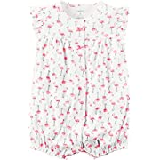 Carter's Baby Girls' Snap-Up Cotton Romper (12 Months, Flamingos)