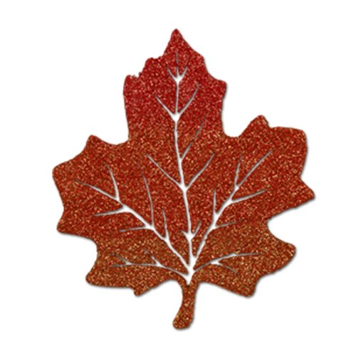 Glittered Maple Leaf Party Accessory (1 count) (Glittered Maple Leaves)