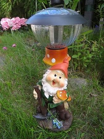 Enano de jardín con seta y solar Farol solar lámpara Figura enanito de jardín: Amazon.es: Jardín