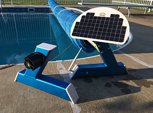Motorized, Remote Controlled, Solar Battery Powered, Automatic Pool Solar Blanket Cover Reel / Roller System for in-ground swimming pools (Cover Pool Roller Reel)