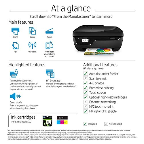 HP OfficeJet 3830 All-in-One Wireless Printer with Mobile Printing, HP Instant Ink & Amazon Dash Replenishment Ready (K7V40A) (Renewed) by HP (Image #6)