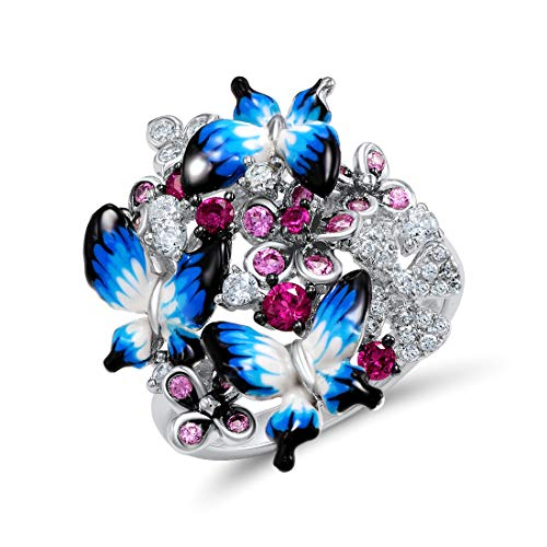 925 Sterling Silver Ring Glamorous Blue Butterflies Shiny Created Pink Sapphire Fashion Jewelry Handmade Enamel (9)