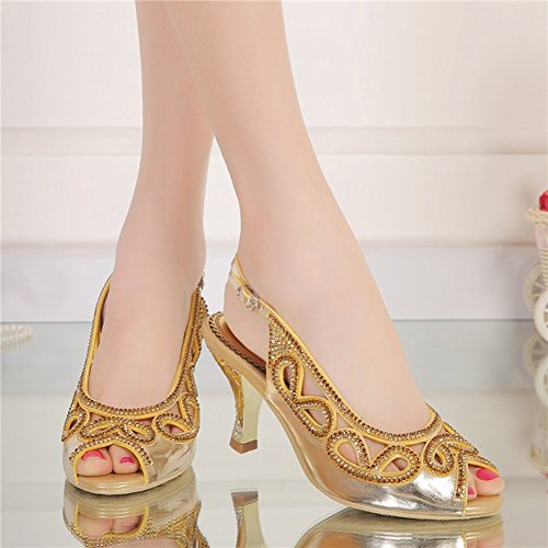 Zapatos Hueca Abierta Oro de 40 tacón Sandalias de de Mujer Zapatos Verano Punta de Color tamaño Sandalias Boca con Diamantes imitación 2018 de Alto de Zapatos Pwq6f8g18