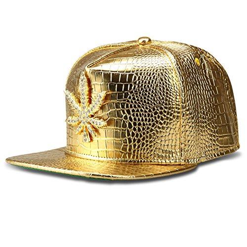 [TUVW Alloy Inlay Rhinestone Leaf Hip Hop Hat(Yellow)] (Hip Hop Felt Hat With Feather)