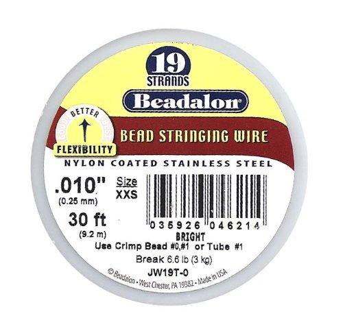 Beadalon 19-Strand Bead Stringing Wire, 0.010-Inch, Bright, 30-Feet
