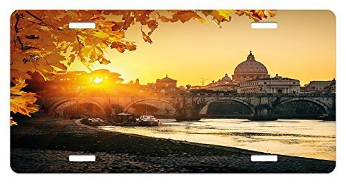 zaeshe3536658 FalLicense Plate, Sunset at Tiber River St Peter Rome City Italy Basilica Touristic Ancient, High Gloss Aluminum Novelty Plate, 6 X 12 Inches, Marigold YelloBlack