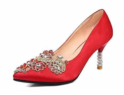 sale uk cute online shop Amazon.com: Women Comfortable Wedding Shoes Red Pumps Satin ...