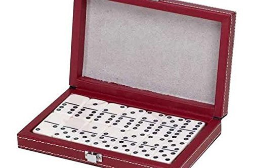Double 6 Standard Domino Tiles in Leatherette Case, Red/Cream Color
