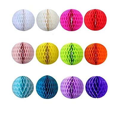 Derker 12pcs Mixed Color Tissue Paper Honeycomb/Paper tissue pom-pom ball Assortment, Hanging Honeycomb Tissue Lime Value Pack Party Accessory(8 Inch),Special gift for Christmas day from Derker