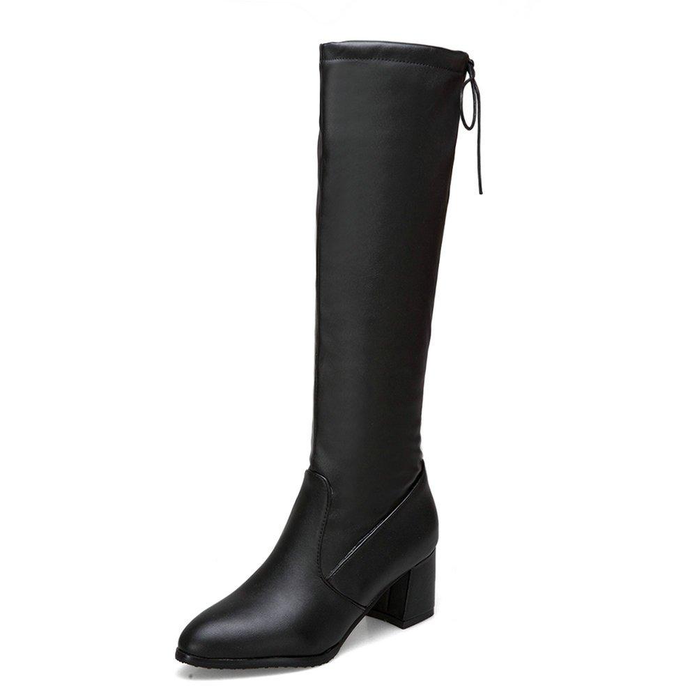 AnMengXinLing AU-63-604-2, Damen Stiefel & Stiefeletten, Schwarz - schwarz(Leather) - Größe  38