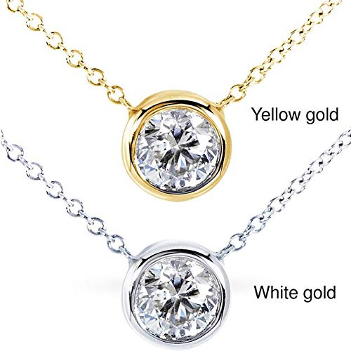 - Round Bezel Moissanite Solitaire Necklace 14K Gold 16
