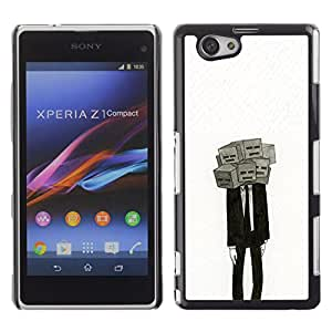 Paccase / SLIM PC / Aliminium Casa Carcasa Funda Case Cover - Deep Meaning Mask Depression Suit - Sony Xperia Z1 Compact D5503