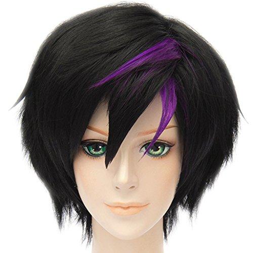 Big Hair Costume Wigs (MSHUI Anime Movie Big Hero 6 Go Go Tomago Cosplay Wig Short Black Purple Hair)