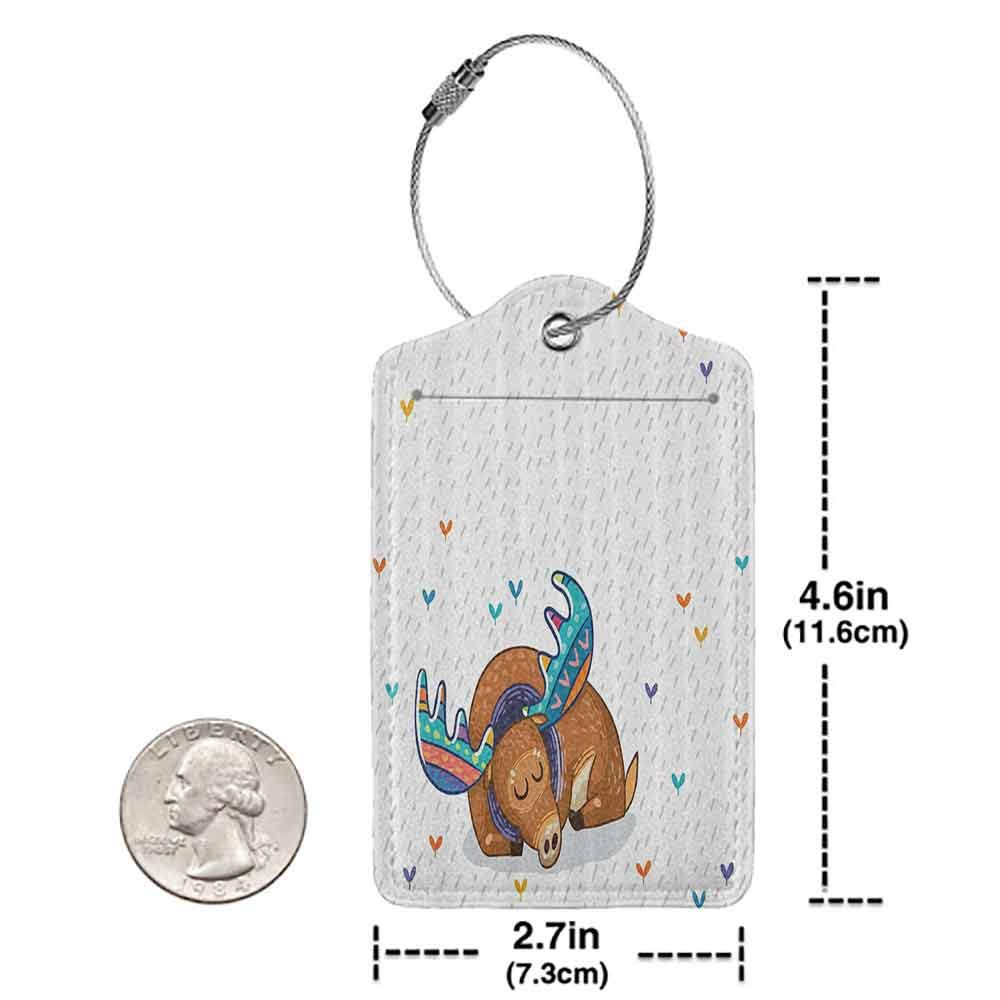 Printed luggage tag Moose Colorful Antlers Boho Deer Retro Artsy Winter Rain Pattern Rainbow Hearts Animal Theme Protect personal privacy Multicolor W2.7 x L4.6