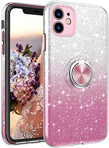 iPhone 11 6.1 Inch Case,NCLcase Bling Sparkly Glitter Cute Phone Case for Women Girls with Kickstand,Slim Fit Drop Protection Shockproof Cover for iPhone 11 - Pink