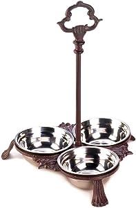 Accent Plus Cat Bowls, Cast Iron Decorative Standing Modern Pet Dog Food Bowl Set, 3pc