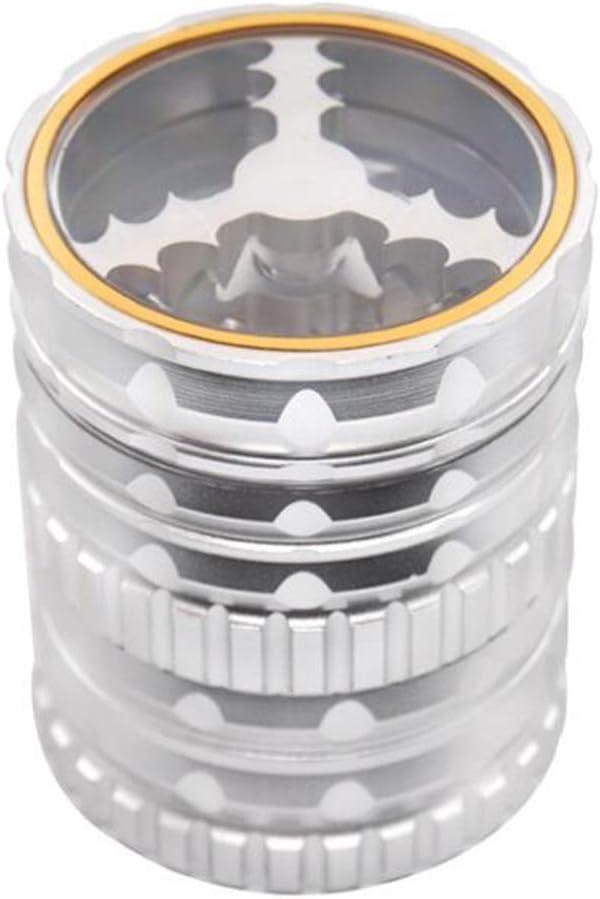 SSRSHDZW Herb Grinder Metallo Nuovo in Lega di Alluminio Erba Rettificatrice 5 Strati Diametro 62mm Erba Rettifica Macchina Regalo,Gray