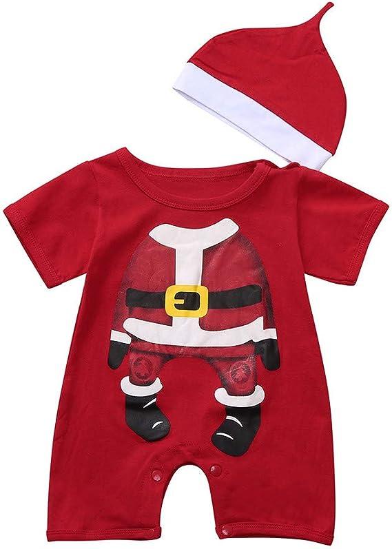 Body Bambini Costume Natale Neonato Pagliaccetto Abito Set Abbigliamento Inverno Caldo Vestiti Neonati Bambini//Bianco 2PCs Sciarpa 0-24 Mesi Bambino Vestito Completo Natale