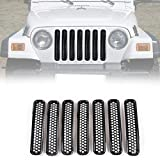 RT-TCZ Black Honeycomb Mesh Front Grill Inserts Kit for 1997-2006 Jeep Wrangler TJ & Unlimited - (7PCS)
