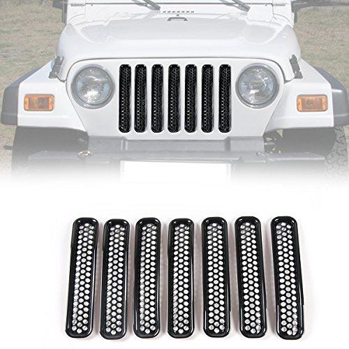 RT-TCZ Black Honeycomb Mesh Front Grill Inserts Kit for 1997-2006 Jeep Wrangler TJ & Unlimited - (7PCS) (2004 Grill Insert)