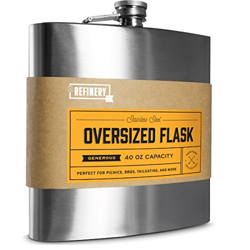 Stainless Flask - REFINERY AND CO. 40 Oz. Big Large Drink Flask, Stainless Steel, Oversized Vintage Design Holds Liquor Cocktails/Beverages, Leak Proof Screw Top, Great For Parties/Tailgates, Travel Friendly