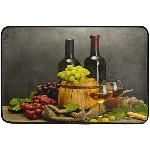 JOQSI Door Floor Mat, Doormat, Area Rug Anti-Skid Foot Pad, Glasses of Wine and Ripe Grapes on Wooden Table Doormat Floor Mat Rug Indoor/Outdoor/Front Door/Bathroom Mats Non Slip 23.6x15.7 ()