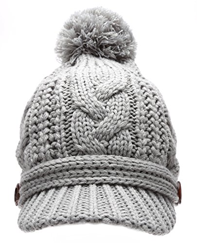 Women's Thick Cable Knitted Skully Beanie Visor Cap Button Pom Pom with MIRMARU Scrunchy (GREY)