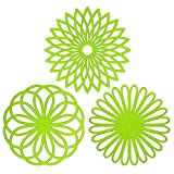3xToruiwa Cup Mat Flower Shaped Pad Silicone Trivet Insulated Non-slip Coaster Multifunctional Placemats for Cup Bowl Dish Pot Microwave Oven Tableware Kitchen Supplies Light Green