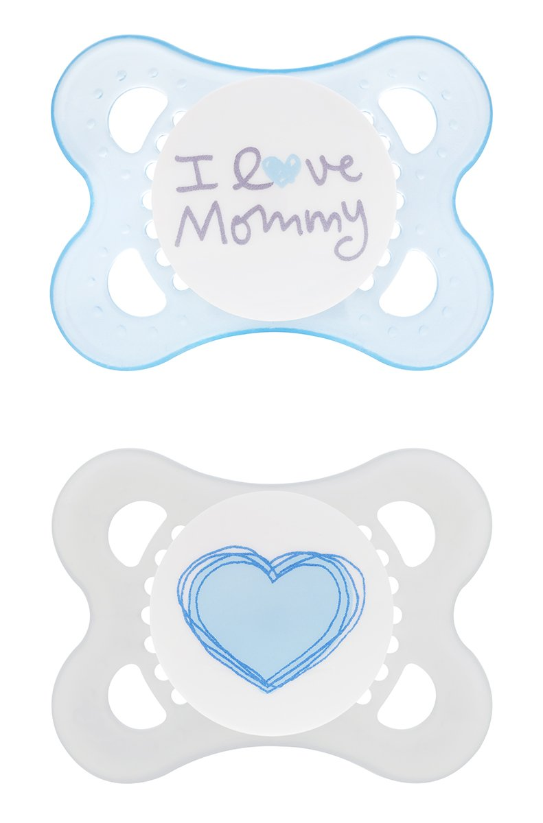 MAM Silicone Love and Affection Pacifier, I Love Mommy, Boy, 0-6 Months, 2-Count, (For Boy) C1284-024-4-1